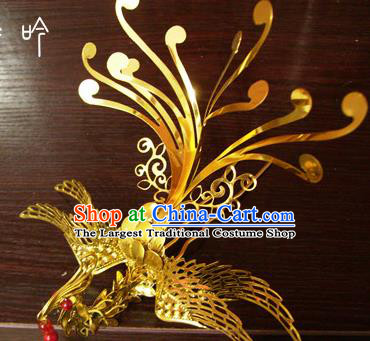 Chinese Ancient Court Queen Phoenix Golden Hairpins Traditional Classical Hanfu Hair Accessories for Women
