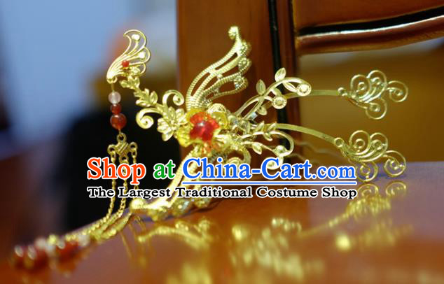 Chinese Classical Hanfu Hair Accessories Traditional Ancient Court Queen Phoenix Tassel Hairpins for Women