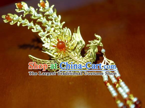 Chinese Traditional Ancient Court Queen Beads Tassel Phoenix Hairpins Classical Hanfu Hair Accessories for Women