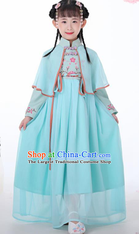 Chinese Traditional Children Blue Hanfu Dress Classical National Tang Suit Costume for Kids