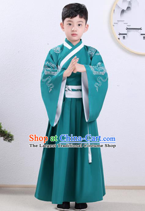 Chinese Traditional Han Dynasty Children Green Hanfu Clothing Ancient Scholar Costume for Kids