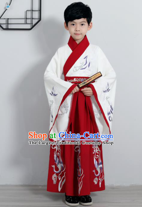 Chinese Traditional Han Dynasty Boys Red Hanfu Clothing Ancient Scholar Costume for Kids