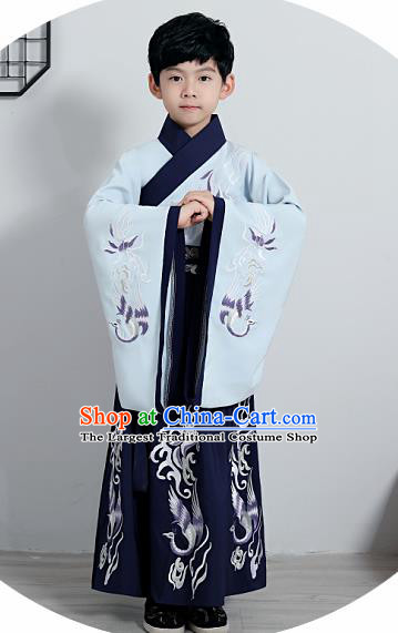Chinese Traditional Han Dynasty Boys Navy Hanfu Clothing Ancient Scholar Costume for Kids
