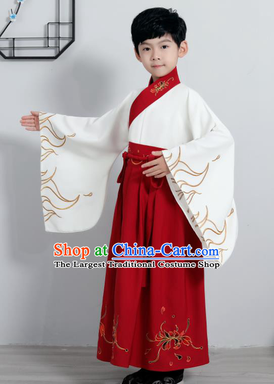 Chinese Traditional Han Dynasty Boys Embroidered Red Hanfu Clothing Ancient Scholar Costume for Kids