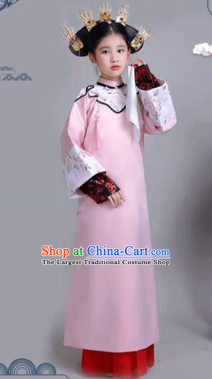 Chinese Traditional Qing Dynasty Girls Pink Qipao Dress Ancient Manchu Princess Costume for Kids