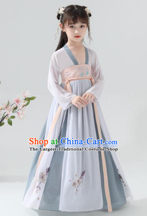 Chinese Traditional Tang Dynasty Girls Blue Grey Hanfu Dress Ancient Princess Costume for Kids