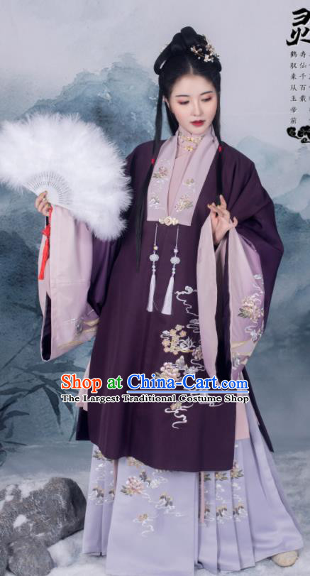 Traditional Chinese Ming Dynasty Royal Countess Replica Costumes Ancient Nobility Dowager Winter Hanfu Dress for Women