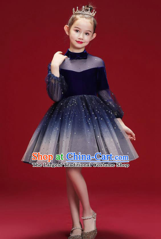 Top Grade Christmas Day Dance Performance Royalblue Full Dress Kindergarten Girl Stage Show Costume for Kids