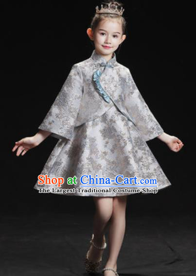 Top Grade Christmas Day Dance Performance Grey Full Dress Kindergarten Girl Stage Show Costume for Kids
