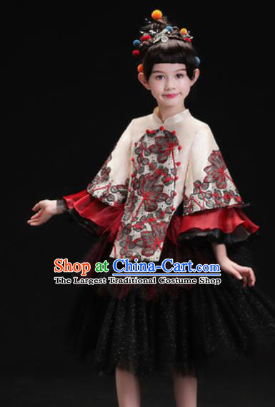 Chinese New Year Dance Performance Black Veil Full Dress Kindergarten Girls Stage Show Costume for Kids