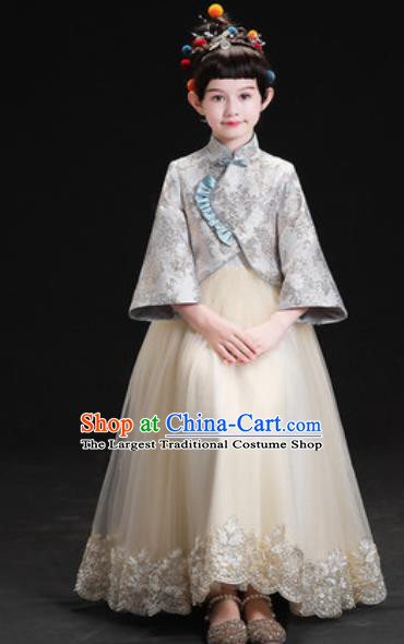 Chinese New Year Performance Grey Full Dress Kindergarten Girls Dance Stage Show Costume for Kids
