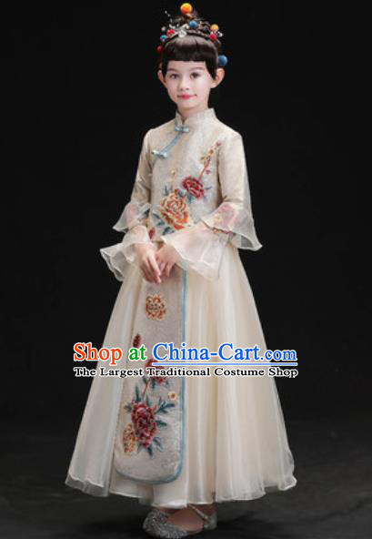 Chinese New Year Performance Embroidered Grey Full Dress Kindergarten Girls Dance Stage Show Costume for Kids