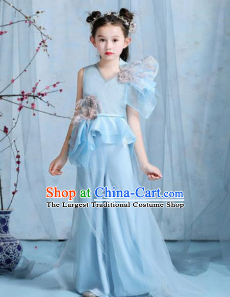 Top Grade Christmas Day Dance Performance Blue Full Dress Kindergarten Girl Stage Show Costume for Kids