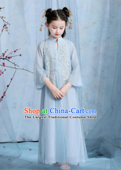 Chinese New Year Performance Embroidered Blue Veil Dress Kindergarten Girls Dance Stage Show Costume for Kids