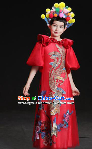 Chinese New Year Classical Dance Performance Red Dress Kindergarten Girls Stage Show Costume for Kids