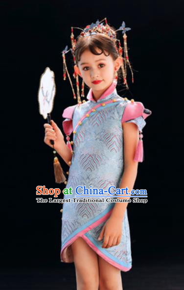 Chinese New Year Performance Blue Qipao Dress National Kindergarten Girls Dance Stage Show Costume for Kids