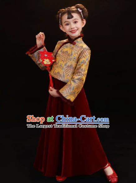 Chinese New Year Performance Purplish Red Dress National Kindergarten Girls Dance Stage Show Costume for Kids