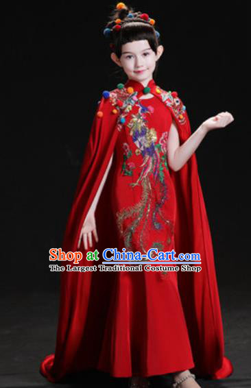 Chinese New Year Dance Performance Red Dress Kindergarten Girls Stage Show Costume for Kids
