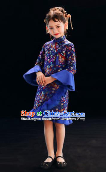 Chinese New Year Performance Royalblue Qipao Dress National Kindergarten Girls Dance Stage Show Costume for Kids
