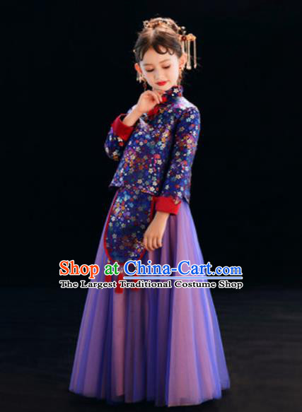 Chinese New Year Performance Purple Full Dress National Kindergarten Girls Dance Stage Show Costume for Kids