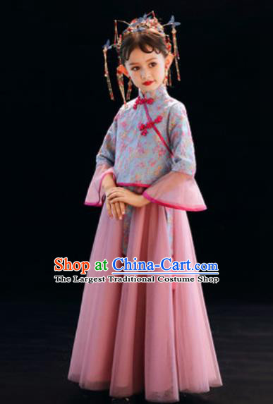 Chinese New Year Performance Pink Full Dress National Kindergarten Girls Dance Stage Show Costume for Kids
