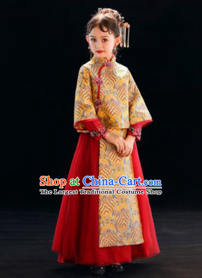 Chinese New Year Performance Red Full Dress National Kindergarten Girls Dance Stage Show Costume for Kids