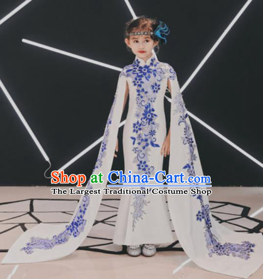 Chinese New Year Performance White Qipao Dress National Kindergarten Girls Dance Stage Show Costume for Kids