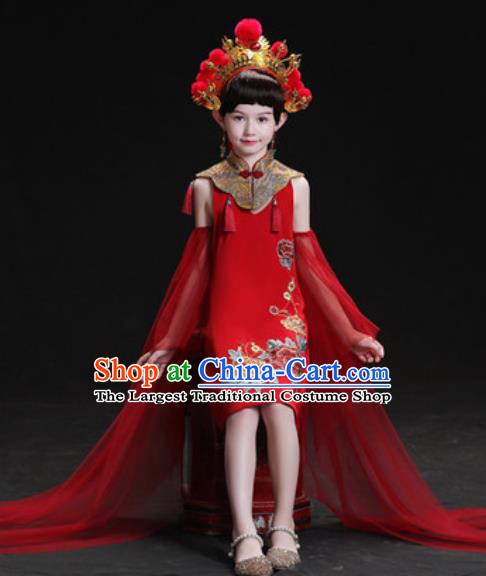Chinese New Year Dance Performance Red Short Full Dress Kindergarten Girls Stage Show Costume for Kids