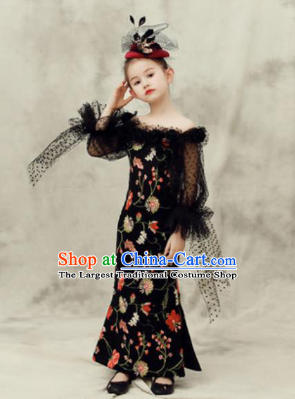 Top Grade Christmas Day Dance Performance Black Full Dress Kindergarten Girl Stage Show Costume for Kids