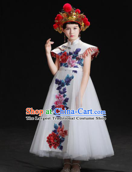 Chinese New Year Dance Performance White Veil Full Dress Kindergarten Girls Stage Show Costume for Kids