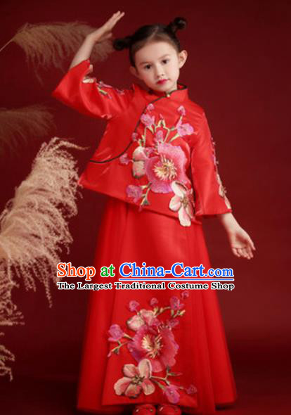 Chinese New Year Performance Embroidered Red Dress National Kindergarten Girls Dance Stage Show Costume for Kids