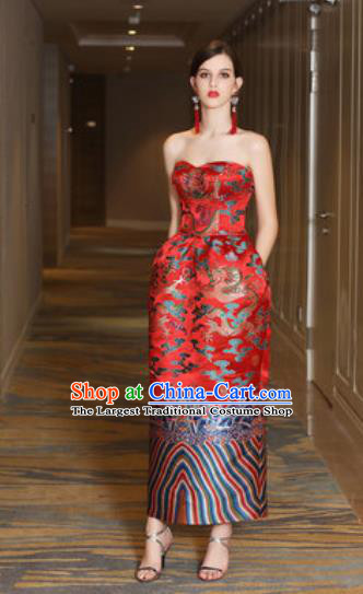 Chinese New Year Performance Red Full Dress National Dance Stage Show Costume for Women