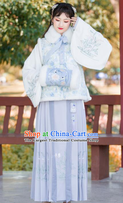 Traditional Chinese Ming Dynasty Winter Replica Costumes Ancient Nobility Hanfu Vest and Dress for Women