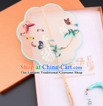 Chinese Traditional Suzhou Embroidery Palace Fans Embroidered Fans Embroidering Craft