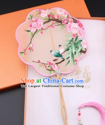 Chinese Traditional Suzhou Embroidery Peach Blossom Palace Fans Embroidered Fans Embroidering Craft