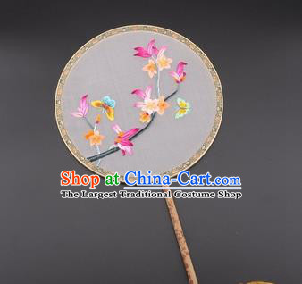 Chinese Traditional Suzhou Embroidery Palace Fans Embroidered Silk Round Fans Embroidery Craft