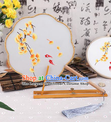 Chinese Traditional Handmade Embroidery Ginkgo Leaf Silk Fan Embroidered Palace Fans