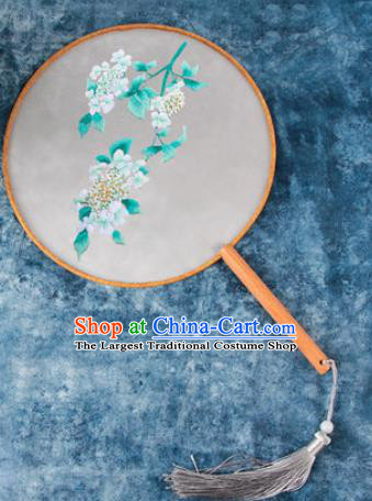 Chinese Traditional Handmade Embroidery Blue Flower Round Fan Embroidered Palace Fans