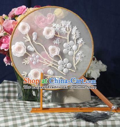Chinese Traditional Handmade Embroidery White Camellia Round Fan Embroidered Palace Fans
