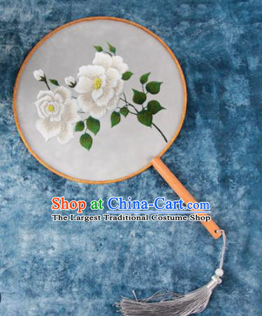 Chinese Traditional Handmade Embroidery White Peony Round Fan Embroidered Palace Fans