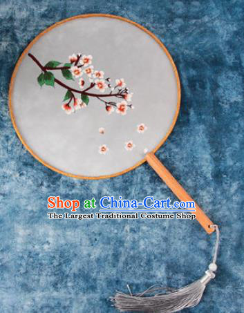 Chinese Traditional Handmade Embroidery Cherry Blossom Round Fan Embroidered Palace Fans