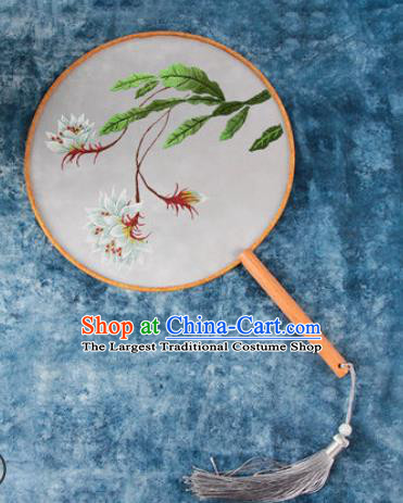 Chinese Traditional Handmade Embroidery Cactus Flower Round Fan Embroidered Palace Fans
