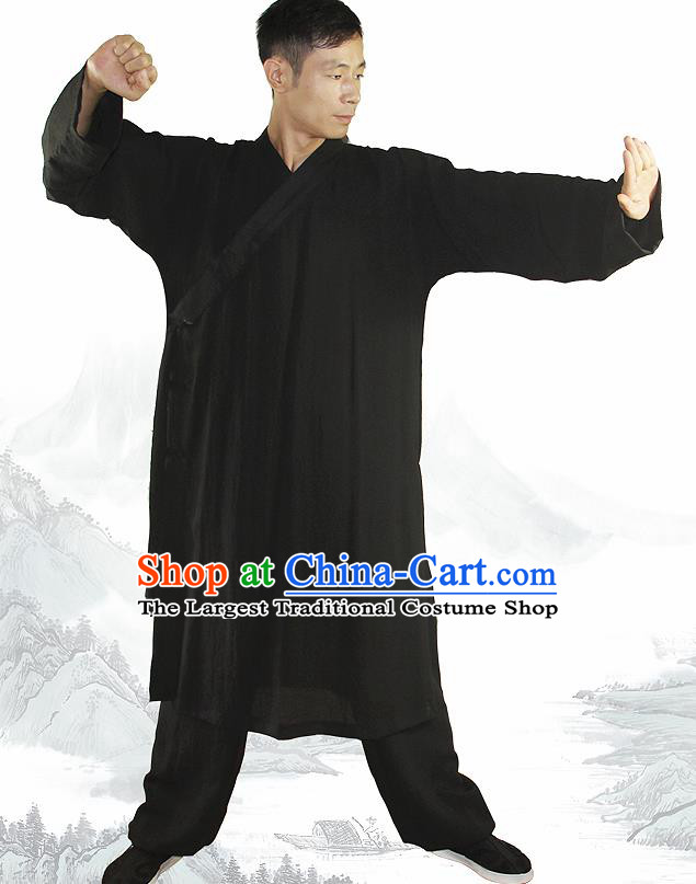 Chinese Traditional Martial Arts Black Flax Robe Kung Fu Taoist Priest Tai Chi Costume for Men