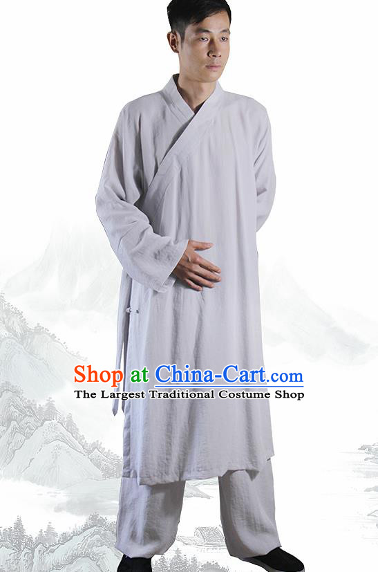 Chinese Traditional Martial Arts Grey Flax Robe Kung Fu Taoist Priest Tai Chi Costume for Men