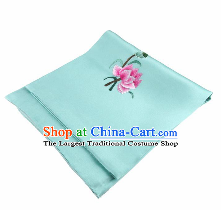 Chinese Traditional Handmade Embroidery Lotus Green Silk Handkerchief Embroidered Hanky Suzhou Embroidery Noserag Craft