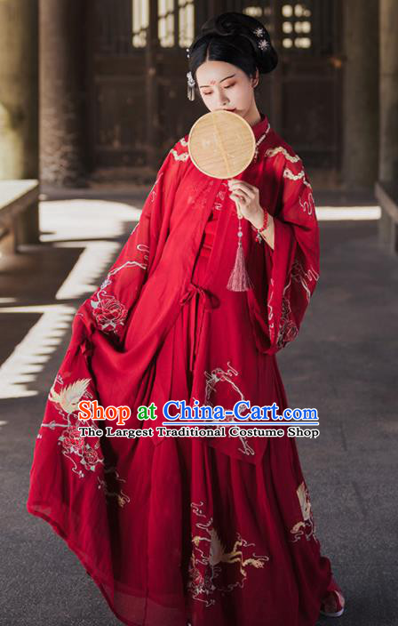 Traditional Chinese Ming Dynasty Court Wedding Replica Costumes Ancient Bride Royal Princess Red Hanfu Dress for Women
