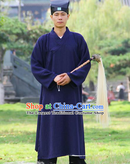 Chinese Traditional Martial Arts Robe Royalblue Priest Frock Kung Fu Taoist Priest Tai Chi Costume for Men