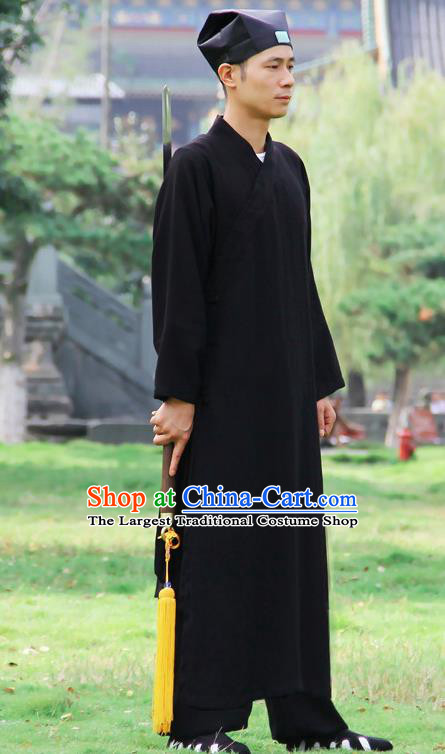 Chinese Traditional Martial Arts Robe Black Priest Frock Kung Fu Taoist Priest Tai Chi Costume for Men