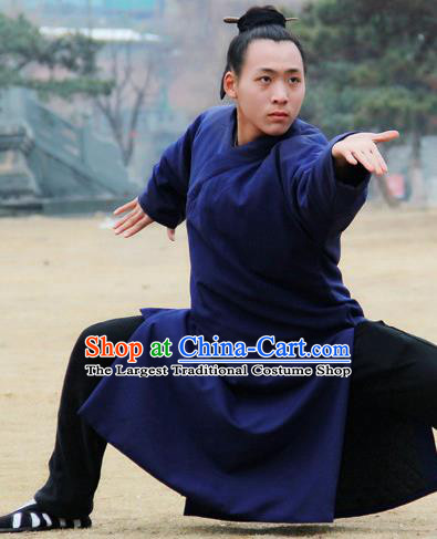 Chinese Traditional Martial Arts Royalblue Robe Priest Frock Kung Fu Taoist Priest Tai Chi Costume for Men