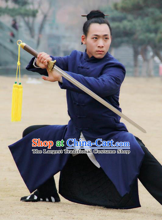 Chinese Traditional Martial Arts Winter Blue Cotton Wadded Robe Priest Frock Kung Fu Taoist Priest Tai Chi Costume for Men